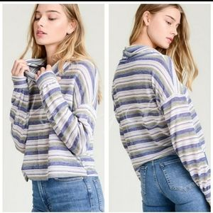 Cowl neck slub knit crop sweater